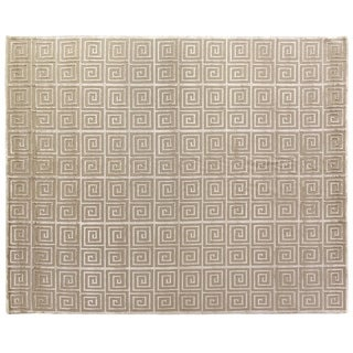 Exquisite Rugs Greek Key Light Beige New Zealand Wool and Silk Rug (9' x 12')