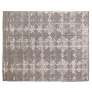 Greek Key Silver Wool / Art Silk Rug (10' x 14')
