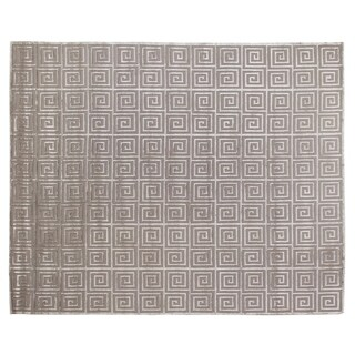 Greek Key Silver Wool / Art Silk Rug (9' x 12')