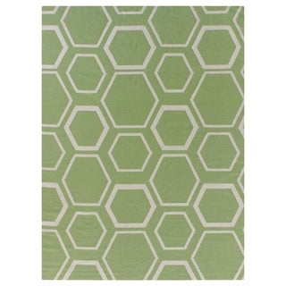 Exquisite Rugs Honeycomb Dhurrie Light Green / White New Zealand Wool Rug (8' x 11')