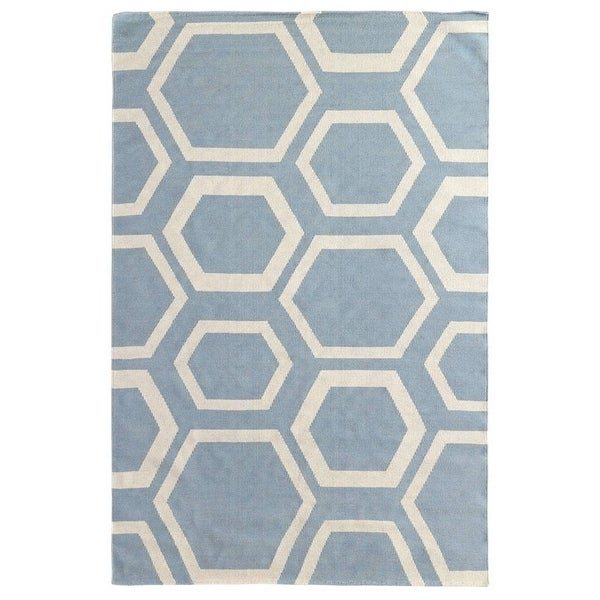 Shop Exquisite Rugs Honeycomb Dhurrie Sky Ivory New Zealand Wool
