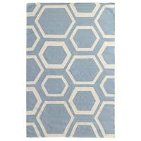 Exquisite Rugs Honeycomb Dhurrie Sky / Ivory New Zealand Wool Rug - 8' x 11'