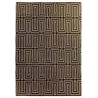 Maze Dhurrie Chocolate and Blue New Zealand Wool Rug (11'6 x 14'6)