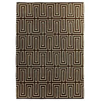 Exquisite Rugs Maze Dhurrie Chocolate / Blue New Zealand Wool Rug - 8' x 11'