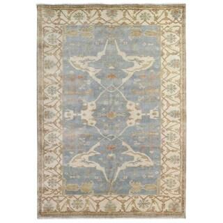 Exquisite Rugs Turkish Oushak Blue / Ivory New Zealand Wool Rug (4' x 6')
