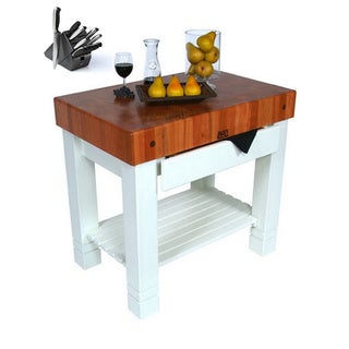 John Boos 36x24 Homestead White Butcher Block with Cherry Top CHY-HMST36245-AL and 13-piece Henckels Knife Set