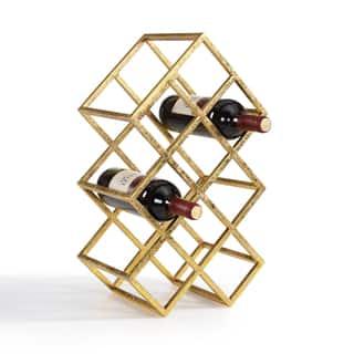 Danya B Sparkling Gold 9 Bottle Wine Rack|https://ak1.ostkcdn.com/images/products/11770569/P18683300.jpg?impolicy=medium