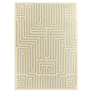 Maze Dhurrie Sand / Blue New Zealand Wool Rug (8' x 11')