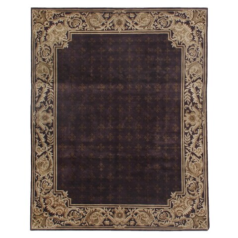 Exquisite Rugs Tibetan-weave Eggplant / Gold Hand-spun New Zealand Wool and Silk Rug - 4' x 6'