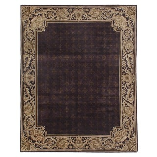 Exquisite Rugs Tibetan-weave Eggplant / Gold Hand-spun New Zealand Wool and Silk Rug (4' x 6')