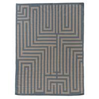 Exquisite Rugs Maze Dhurrie Light Blue New Zealand Wool Rug - 11'6 x 14'6