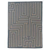 Exquisite Rugs Maze Dhurrie Light Blue New Zealand Wool Rug (8' x 11')