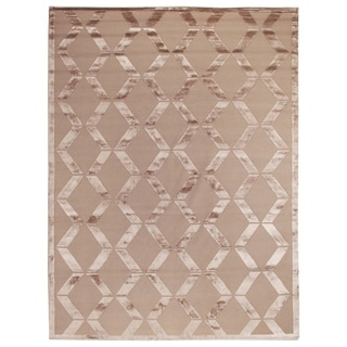 Metro Velvet Beige Wool and Art Silk Rug (9' x 12')