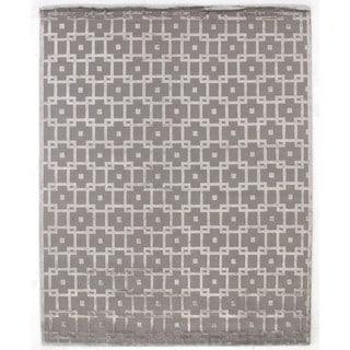 Metro Velvet Silver Wool / Art Silk Rug (10' x 14')