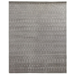 Metro Velvet Silver Wool and Silk Rug (9' x 12')