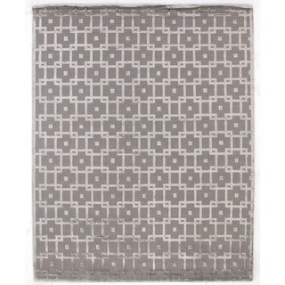 Exquisite Rugs Metro Velvet Silver / Grey New Zealand Wool and Viscose Rug (9' x 12')