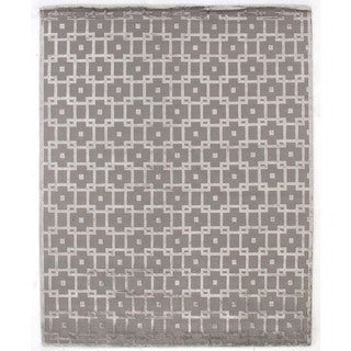 Metro Velvet Silver/Grey Wool Art Silk Rug (9' x 12')