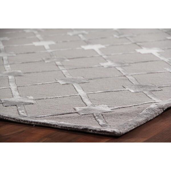 Metro Velvet Silver Wool / Art Silk Rug (9u0027 X ...