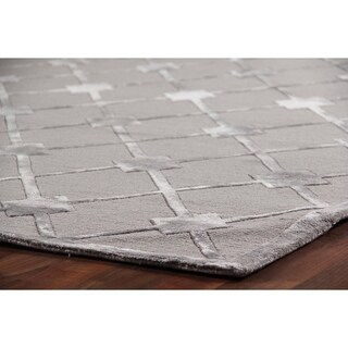 Exquisite Rugs Metro Velvet Silver Wool / Silk Rug (9' x 12')