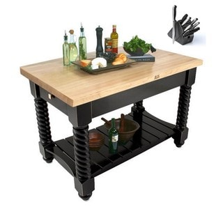John Boos TUSI5432-BK Tuscan Isle Boos Block Table 54x32x36 & BONUS 13 PC Henckels Knife Set