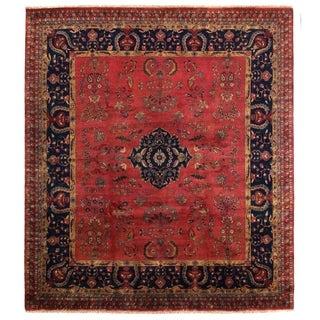 Exquisite Rugs Mohajeran Navy / Red New Zealand Wool Rug (9' x 10')