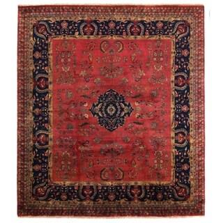 Exquisite Rugs Mohajeran Navy / Red New Zealand Wool Rug (9' x 10') - 9' X 10'