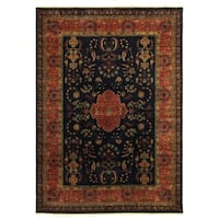 Exquisite Rugs Mohajeran Red and Navy New Zealand Wool Rug (10' x 14')