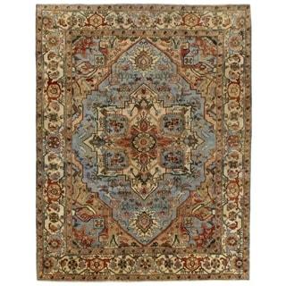 Serapi Light Blue / Ivory New Zealand Wool Rug (3' x 5')