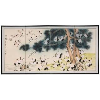 Handmade Silk Hundred Cranes Shoji Screen