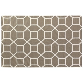 Octagon Dhurrie Dark Sage New Zealand Wool Rug (9'6 x 13'6)