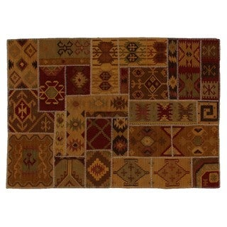 Patchwork Dhurrie Wheat New Zealand Wool Rug (11'6 x 14'6)