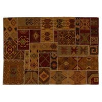 Exquisite Rugs Patchwork Dhurrie Wheat New Zealand Wool Rug (11'6 x 14'6) - 11'6 x 14'6