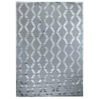 Ripple Aqua Art Silk / Wool on Cotton Foundation Rug (8' x 10')