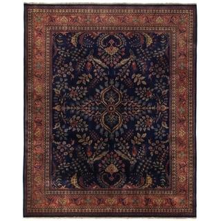 Sarouk Blue / Red New Zealand Wool Rug (9' x 10')
