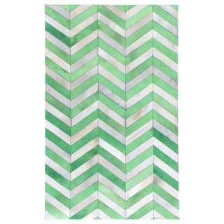 Chevron Hide Jade / White Leather Hair-on Hide Rug (5' x 8')