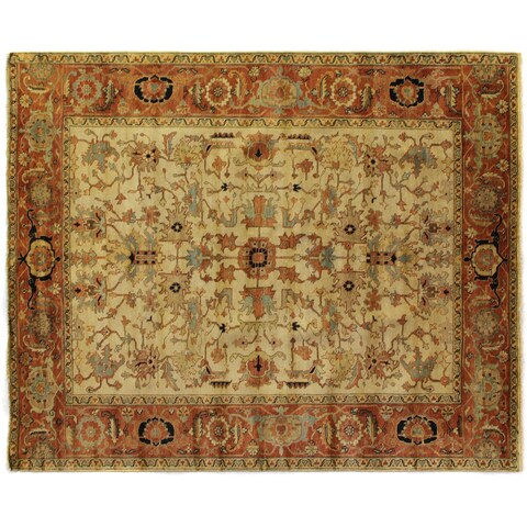Exquisite Rugs Serapi Ivory / Red New Zealand Wool Rug - 10' x 14'
