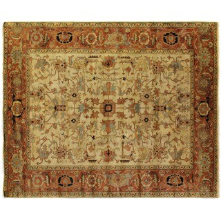 Exquisite Rugs Serapi Ivory / Red New Zealand Wool Rug (10' x 14')