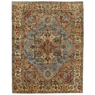 Serapi Light Blue and Ivory New Zealand Wool Rug (8' x 10')