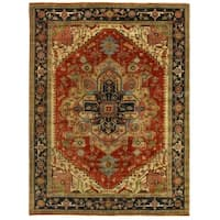 Exquisite Rugs Serapi Red / Blue New Zealand Wool Rug (8' x 10') - 8' x 10'