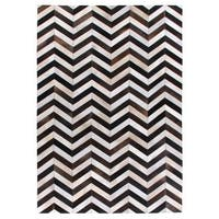 Exquisite Rugs Chevron Hide Black / White Leather Hair-on Hide Rug - 5' x 8'