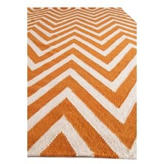ZigZag Orange and White New Zealand Wool Rug (5' x 8')