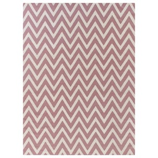 ZigZag Flatweave Dusty Rose New Zealand Wool Rug (5' x 8')