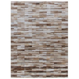 Stitched Blocks Beige Leather Hair-on-hide Rug (8' x 11')