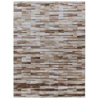 Exquisite Rugs Stitched Blocks Beige Leather Hair-on-hide Rug - 8' x 11'