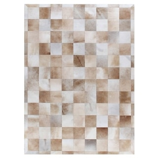 Stitched Blocks Beige Leather Hair-on Hide Rug (9'6 x 13'6)