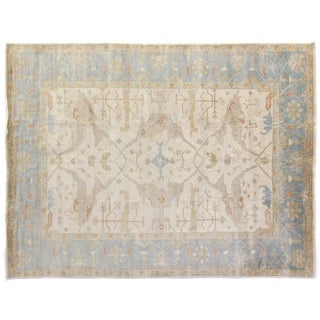 Turkish Oushak Ivory / Blue New Zealand Wool Rug (6' x 9')