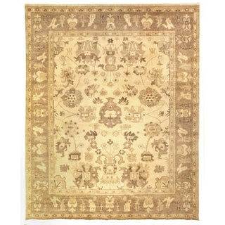 Exquisite Rugs Turkish Oushak Ivory/ Brown New Zealand Wool Rug (6' x 9')