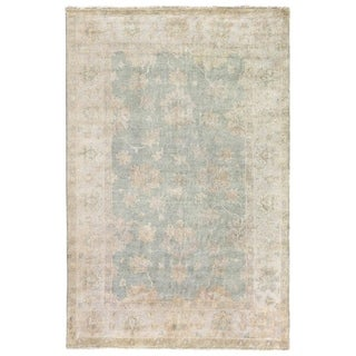 Turkish Oushak Light Blue New Zealand Wool Rug (6' x 9')
