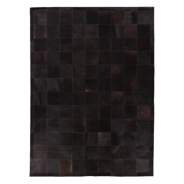 Shop Exquisite Rugs Stitched Blocks Black Leather Hair On