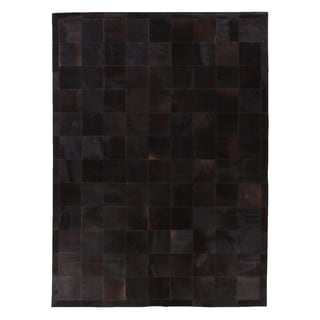Soho Collection Stitched Blocks Black Leather Hair-on-hide Rug (9'6 x 13'6)
